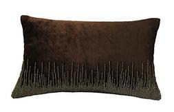 0321 silver beaded velvet pillow
