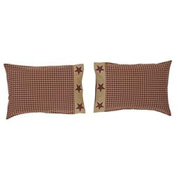 "VHC Brands Ninepatch Star 21"" x 30"" Checkered Pillow Case"