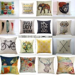 """18"""" Vintage Home Decor Cotton Linen Pillow Case Sofa Waist T"""