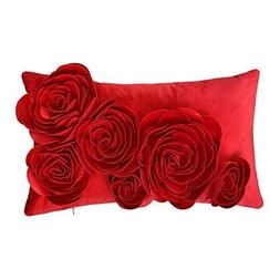 JWH 3D Handmade Accent Pillow Case Rose Flower Cushion Cover