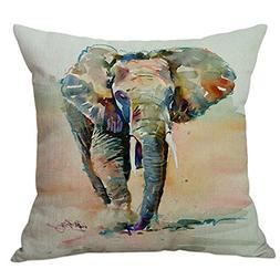 SODIAL 45cm45cm Ink Wash Printing Elephant Cushion Cover Ani
