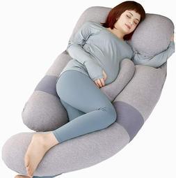 MOON PINE 60 inch Pregnancy Body Pillow, Detachable U Grey B