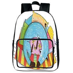 Light Weight Loss Square Front Bag Backpack,Quirky Decor,Cut