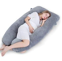 Meiz Full Pregnancy Pillow with Hypoallergenic Velvet Cover