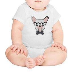 PPLOPO Wear Glasses Cartoon Bulldog Baby Romper Bodysuit Cut