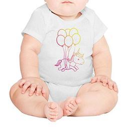 Pink Balloon Flying Unicorn Baby Romper Bodysuit Funny White