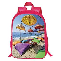 Print Red Double-Deck Rucksack,Balinese Decor,Pristine Beach