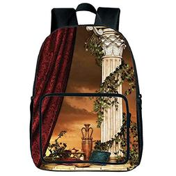 Strong Durability Square Front Bag Backpack,Gothic,Greek Sty