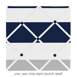 Sweet Jojo Designs Navy Blue, Gray and White Fabric Memory/M