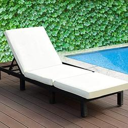 Tangkula Patio Reclining Chaise Lounge Outdoor Beach Pool Ya