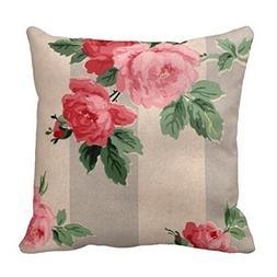 "Vintage Cabbage Rose Wallpaper Pillow Case 18"" 18"""