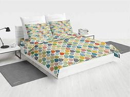 Abstract 4pc Bed Sheet Set Colorful Large Drop Dots Pattern