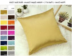 Aiking Home Solid Faux Silk Euro Sham / Throw Pillow COVER,