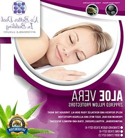 2 Pack Aloe Vera Premium Pillow Protectors, zippered Encasem