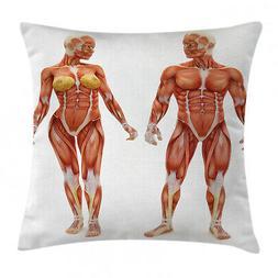 Anatomy Throw Pillow Case Male Female Human Body Square Cush