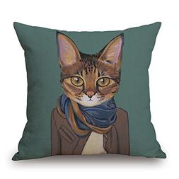 Elliot_yew Animal Print Cat Portrait Modern Art Cotton Linen