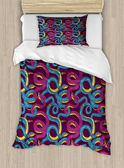 Ambesonne Animal Twin Size Duvet Cover Set, Hand Drawn Style