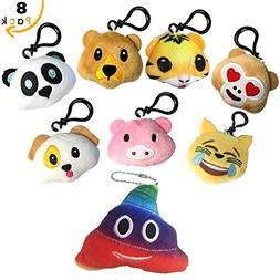 Animals Emoji Key Chain Plush Stuffed Toy Mini Pillow for Bo