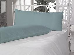 "20"" x 54"" Aqua Blue 2 Piece Body Pillow Cover Pillowcase Sol"