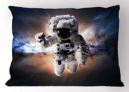 Ambesonne Astronaut Pillow Sham, Floating Astronaut in Space