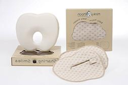 Baby Pillow Set to Prevent Flat Head - 2 Organic Cotton Case