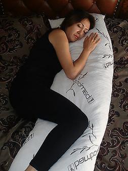 Bamboo Cover Shredded Memory Foam Full Body Pillow,100% Wash