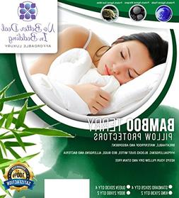 4 Pack Bamboo Terry Premium Pillow Protectors, 100% Waterpoo