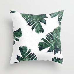 Gail M Banana Leaf Green Polyester Throw Pillow Covers 16 x