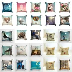 Beautiful Scenery Flowers Beauty Cotton Linen Pillow Cover T