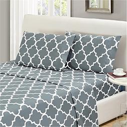 Mellanni Bed Sheet Set Queen-Gray Brushed Microfiber Printed