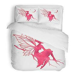 Emvency Bedding Duvet Cover Set Twin  Magic Hand Paint Fairy