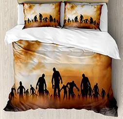 Bedding 4 Piece Halloween Zombies Dead Men Walking Body in t