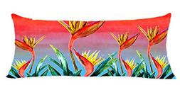 Bird of Paradise Floral Body Pillow Case From My Art