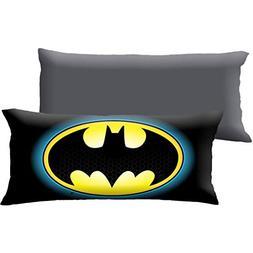 D.I.D. 1 Piece 20x48 Black Batman Body Pillow, Yellow Bat Ma