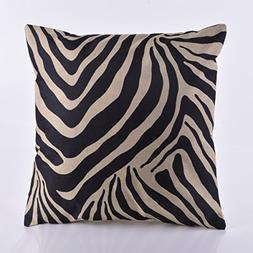 DECORLUTION Black Zebra Stripe Printed Pattern Cushion Cover