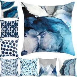 Blue Simple Pattern Pillow Cases Sofa Car Waist Throw Cushio