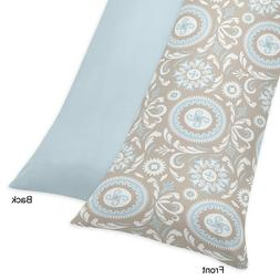 Blue and Taupe Hayden Full Length Double Zippered Body Pillo