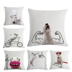Body Building Dog Print Linen Pillow Case Waist Throw Cushio