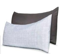"Room Essentials Body Pillow Cover 2 Pc Set Gray& White 20""x5"