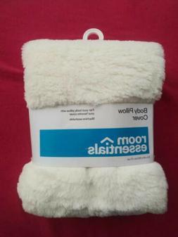 Room Essentials Body Pillow Cover Soft Faux Fur Zipper Closu
