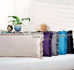 "Body Pillow Ruffled Solid Cover Case Decorative 20""x54""+2"