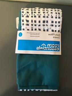 Room Essentials body pillowcase pillow cover 2 pack teal & w