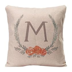 KafePross Botanical Laurel Wreath Monogram M Home Decorative