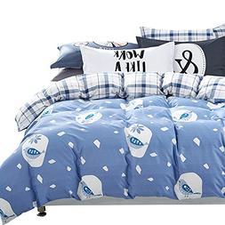 ORoa Boys Bedding Sets Twin Cotton Cartoon Brid Blue White f