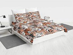 Boys Girls Room Royal Bedding Set Pattern of Cats and Dogs D
