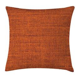 Burnt Orange Throw Pillow Cushion Cover by, Rough Texture Cl