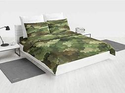Camo Bed Sheet Sets Frosted Glass Effect Hexagonal Abstract