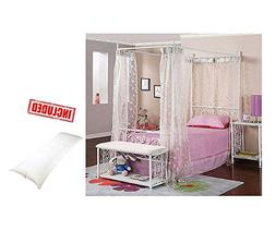 Canopy Wrought Iron Princess Bed White With Body Pillow