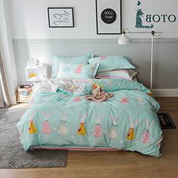 ORoa New Cartoon Rabbit Full Queen Cute Duvet Cover Sets for