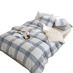 ORoa 3 Piece Casual Plaid Teen Bedding Duvet Cover and Pillo
